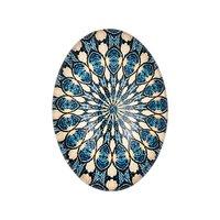 Jewellery Made by Me Cabochon Ornament blau-creme 25x18mm Glas