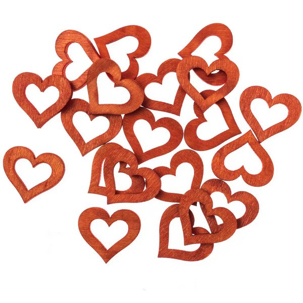 Streu Herzen rot 2cm Holz 24 Stück