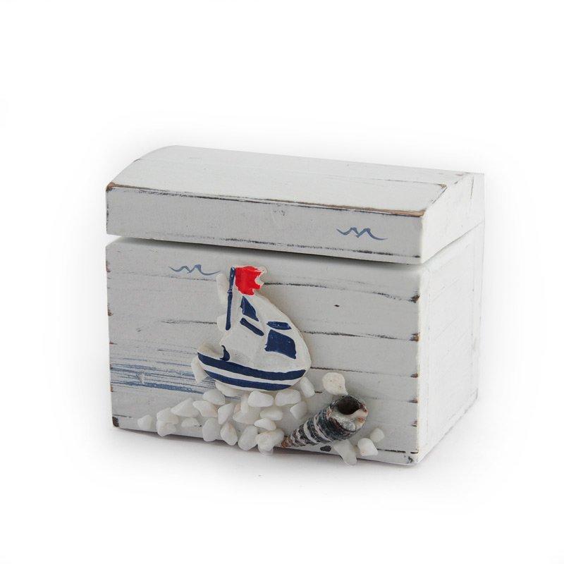 Holzkiste maritim weiß 8x6x6cm