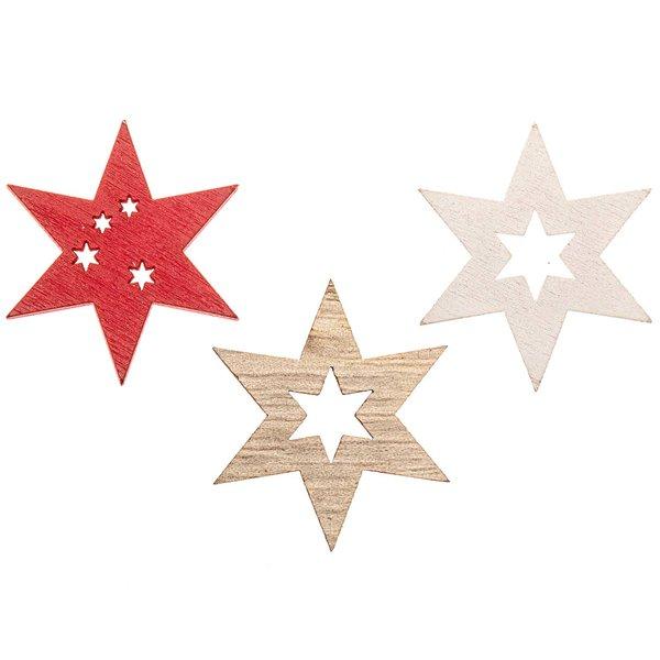 Sternstreu natur-rot-weiß 3,5cm 12 Stück
