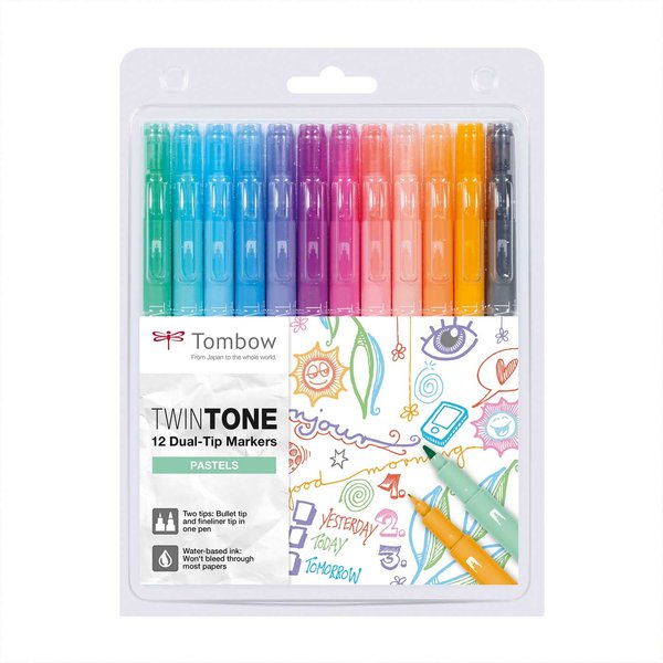 Tombow TwinTone Pastels 12 Stück