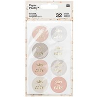 Paper Poetry Sticker Save the Date puder-grau 4 Blatt