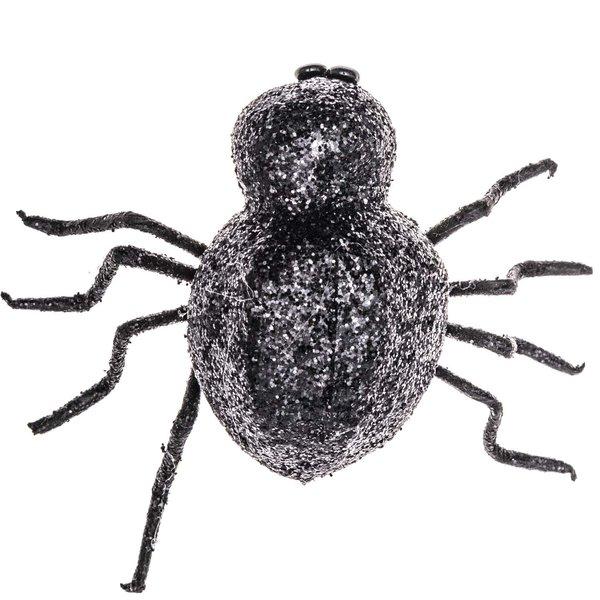 Deko Spinne mit Glitter schwarz 8cm