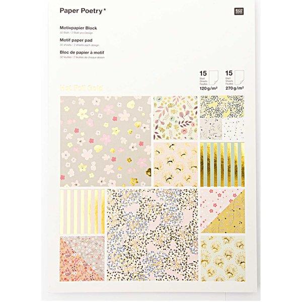 Paper Poetry Motivpapier Block Bouquet Sauvage 21x30cm 30 Blatt