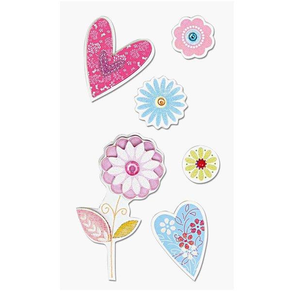 Paper Poetry 3D Sticker Blumen mit Herzen