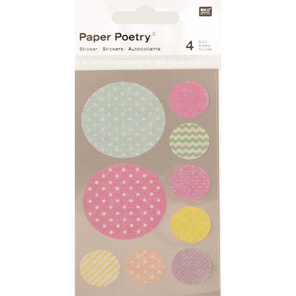 Paper Poetry Washi Sticker pastell rund 4 Bogen