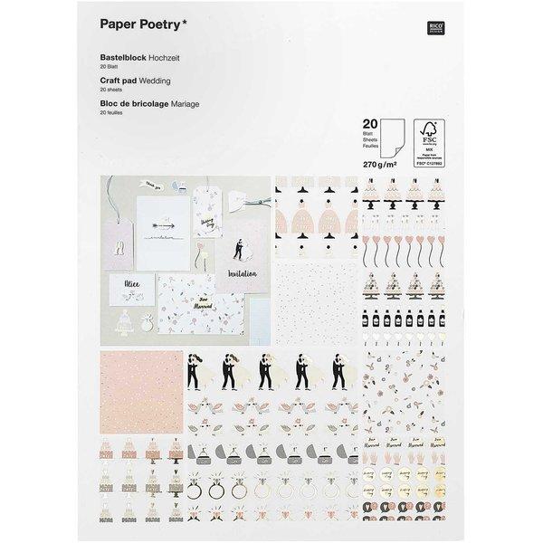Paper Poetry Bastelblock Hochzeit 20 Blatt