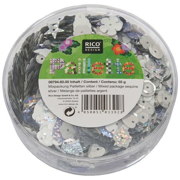 Rico Design Pailletten Mix silber 55g