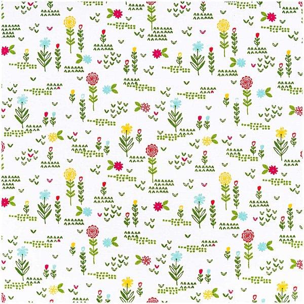 Rico Design Stoff Blumenwiese weiß 140cm