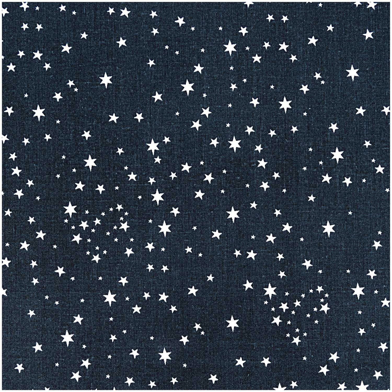Schwarzer Weihnachtsstoff mit weißen Sternen