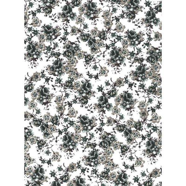 décopatch Papier Blümchen schwarz-weiß 3 Bogen