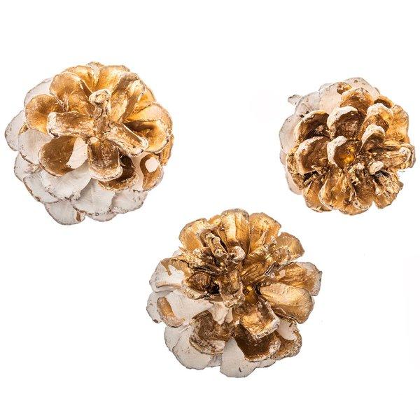 Kiefernzapfen weiß-gold 6 Stück