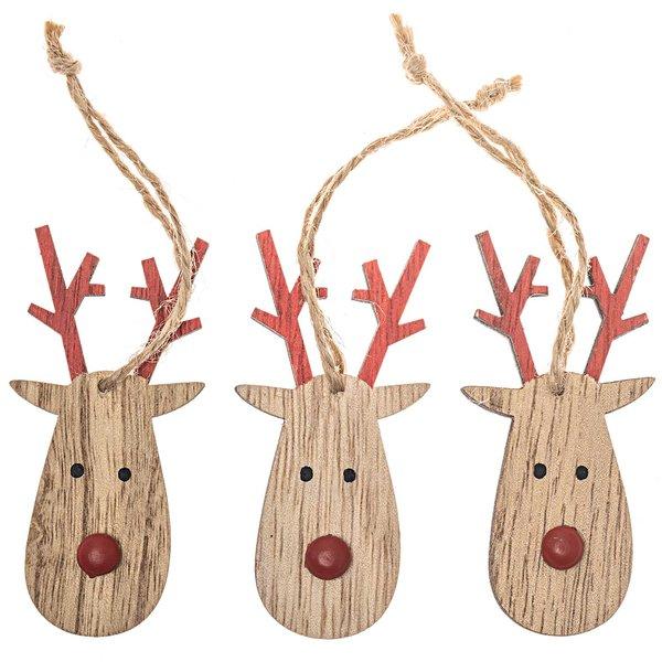 Rentier-Anhänger Rudolph natur-rot 7x3,5cm 6 Stück