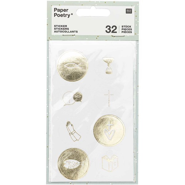 Paper Poetry Sticker Kommunion und Konfirmation gold 4 Blatt