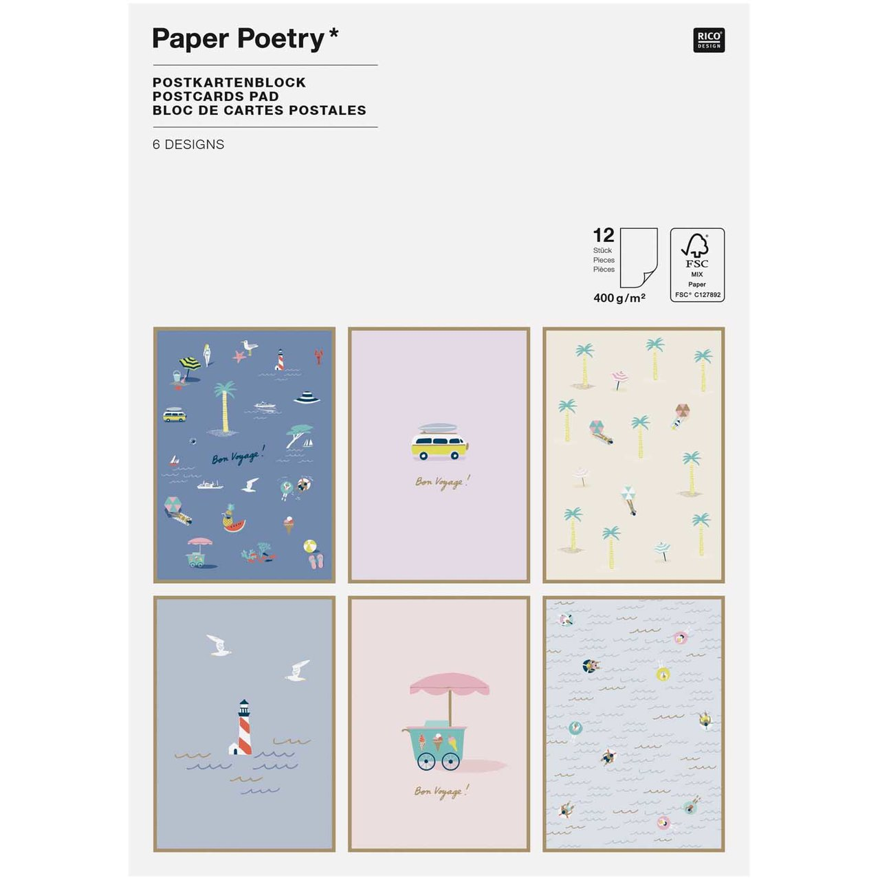 Paper Poetry Postkartenblock Maritim 12 Stück
