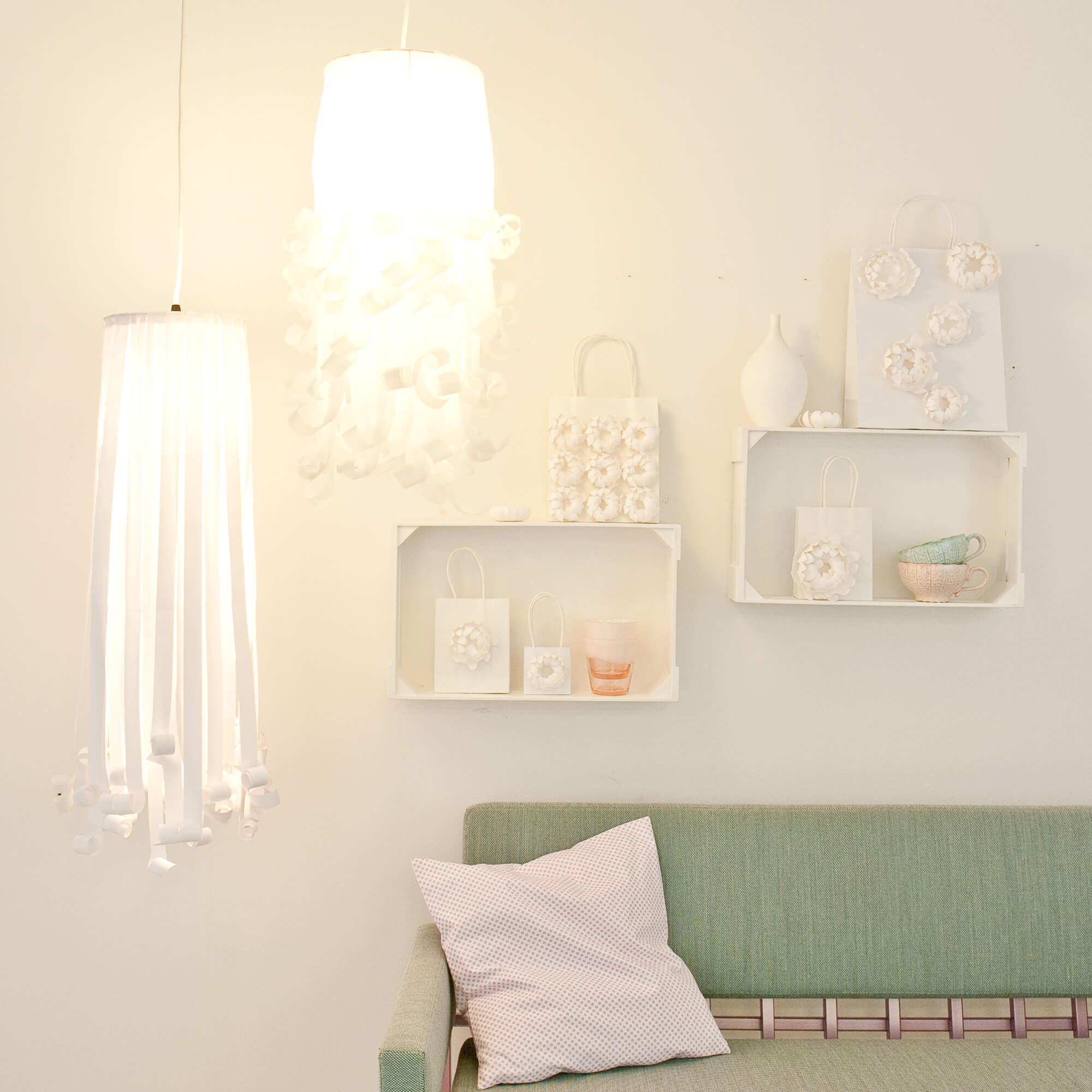 lampenschirm basteln aus papierstreifen kostenlose. Black Bedroom Furniture Sets. Home Design Ideas