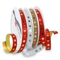 PRÄSENT Ringelband Christmas Star rot-weiß-taupe 10mm 4x6m