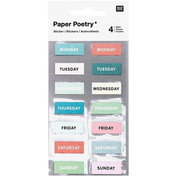 Paper Poetry Sticker Wochentage grün 28 Stück