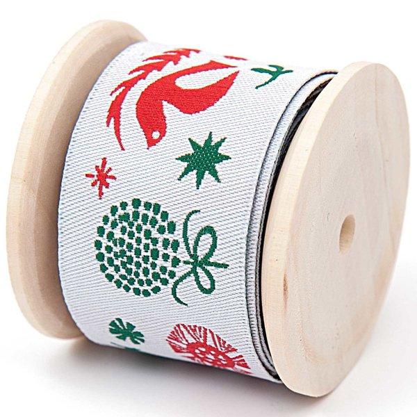 Knöpfe Weihnachtsmotive.Rico Design Webband Weihnachtsmotive Weiß 2 8cm 2m