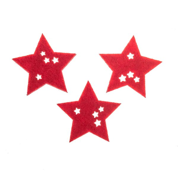 Filz-Sternstreu rot 3,2cm 12 Stück