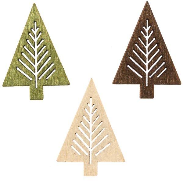 Streu Tannen creme-grün-braun 4cm Holz 12 Stück