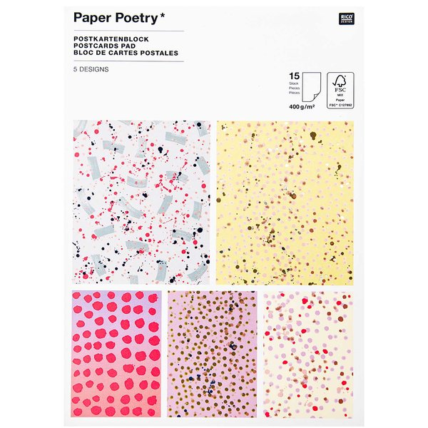 Paper Poetry Postkartenblock Crafted Nature gefleckt 15 Stück