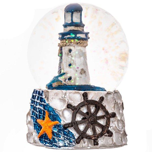 Schüttelkugel Leuchtturm blau-weiß 9cm