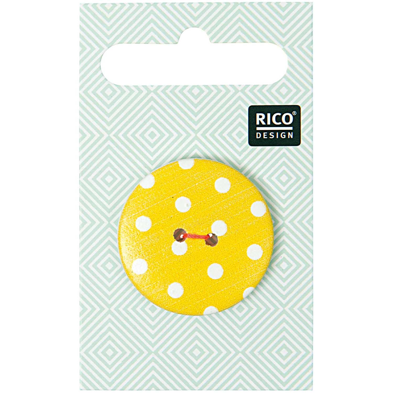 Gelber 2-Lochknopf mit weißen Punkten