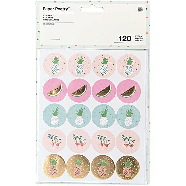 Paper Poetry Sticker Ananas Melone 120 Stück