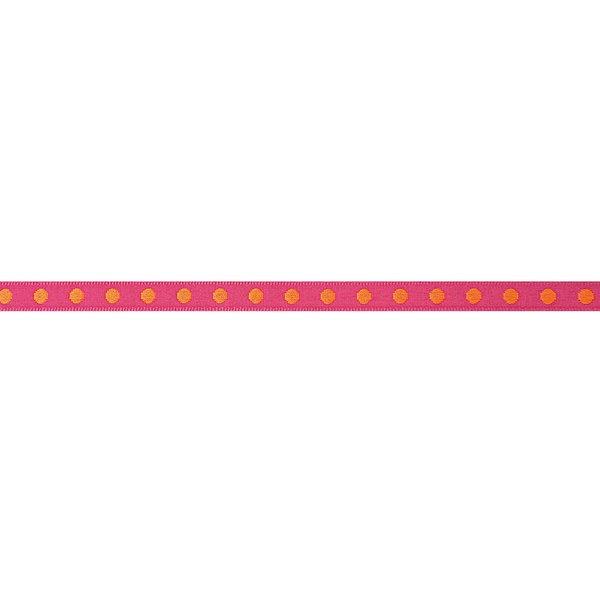 Rico Design Ribbon gewebte Punkte pink-orange 2m