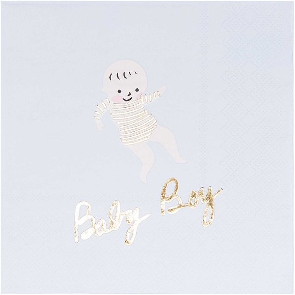YEY! Let's Party Servietten Baby Boy 33x33cm 20 Stück