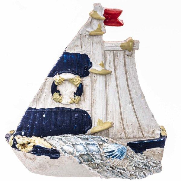 Segelboot weiß-blau 6cm