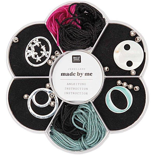 Jewellery Made by Me Makramee Set schwarz-pink-lindgrün 24teilig
