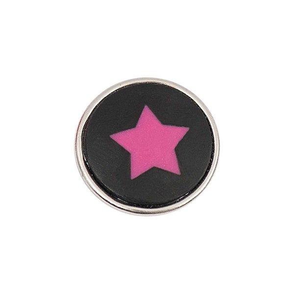 Rico Design Knopf Stern pink-schwarz 14mm