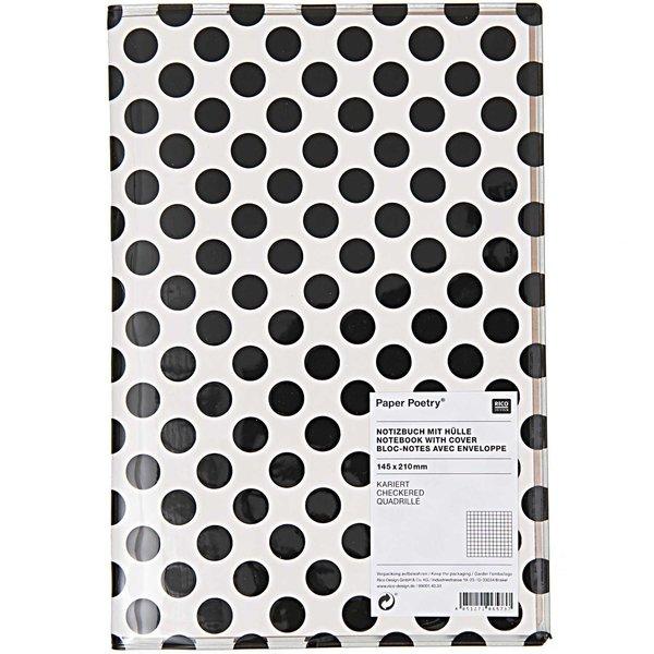 Paper Poetry Notizbuch A5 mit Hülle schwarze Punkte