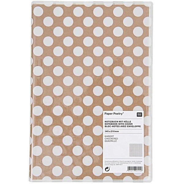 Paper Poetry Notizbuch A5 mit Hülle weiße Punkte