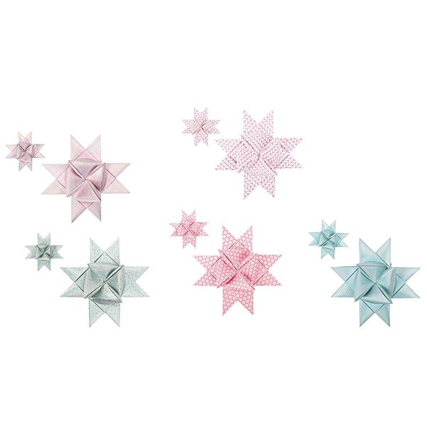 Paper Poetry Fröbelsterne gezeichnete Spitzen mint-rose 40 Stück