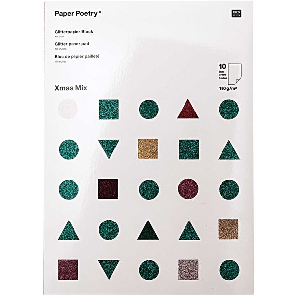 Paper Poetry Glitterpapierblock Nostalgic Mix DIN A4 10 Blatt