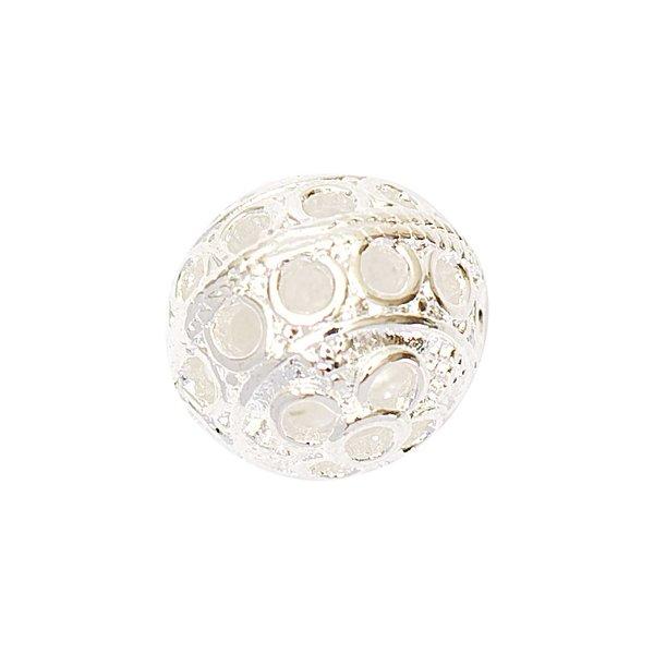 Jewellery Made by Me Metallkugel Lochmuster silber 12mm 3 Stück