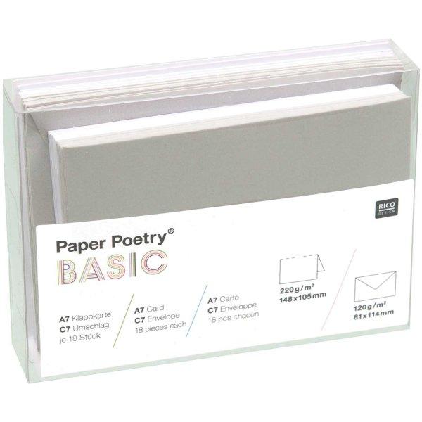 Paper Poetry Kartenset Basic weiß-grau C7 36teilig