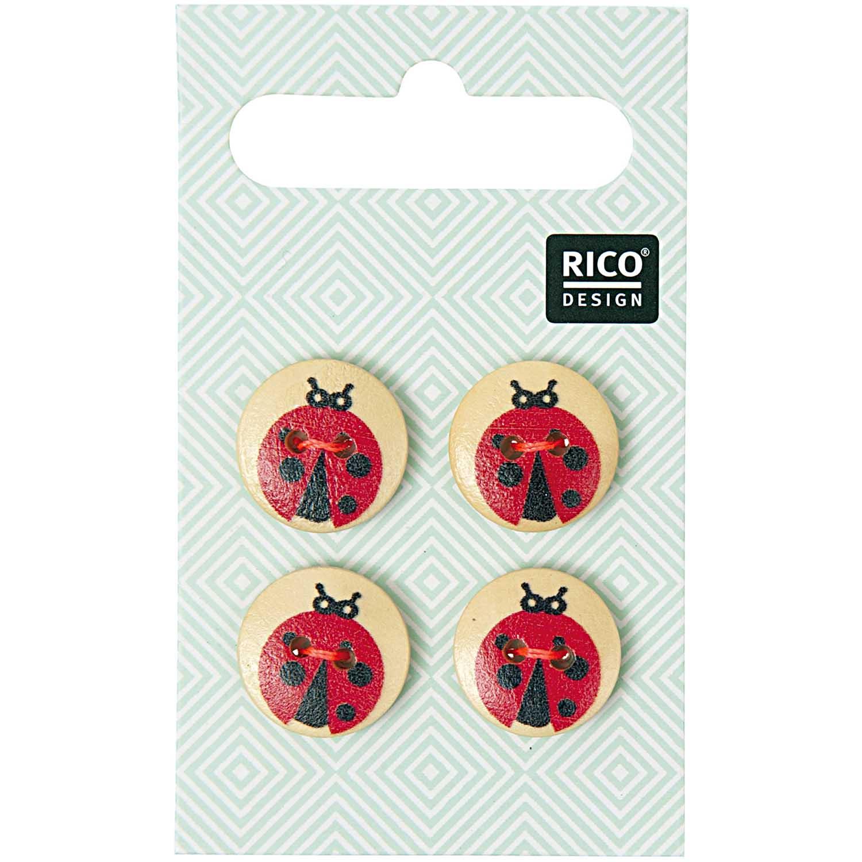 Vier 2-Lochknöpfe mit Marienkäfer von Rico Design