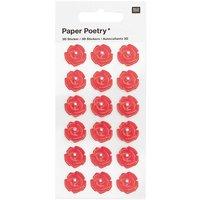 Paper Poetry 3D-Sticker Rosen mit Perle rot 18 Stück