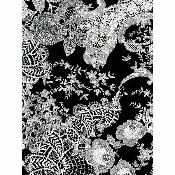 décopatch Papier Spitzenmotiv schwarz-weiß 3 Bogen