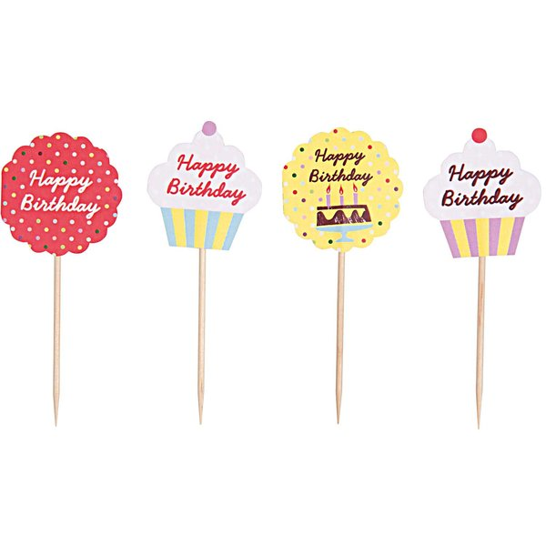 Rico Design Deko Picker Happy Birthday 24 Stück