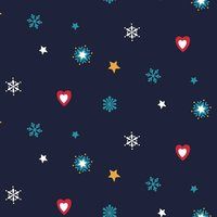 Rico Design Stoff Weihnachten Herzen und Sterne blau 50x55cm