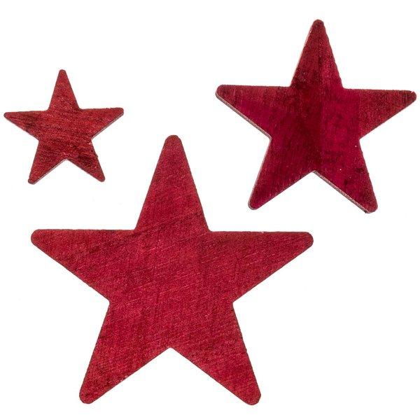 Streu Sterne Holz rot 28 Stück