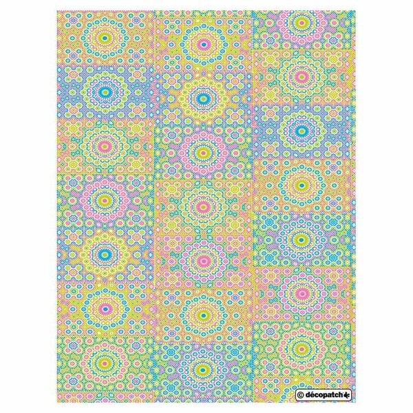décopatch Papier Kreisornamente mehrfarbig 3 Bogen