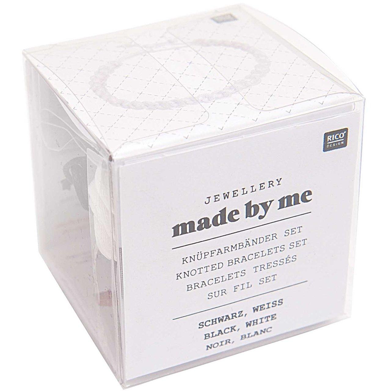 Rico Design Knüpfarmbänder Set schwarz-weiß 13x...