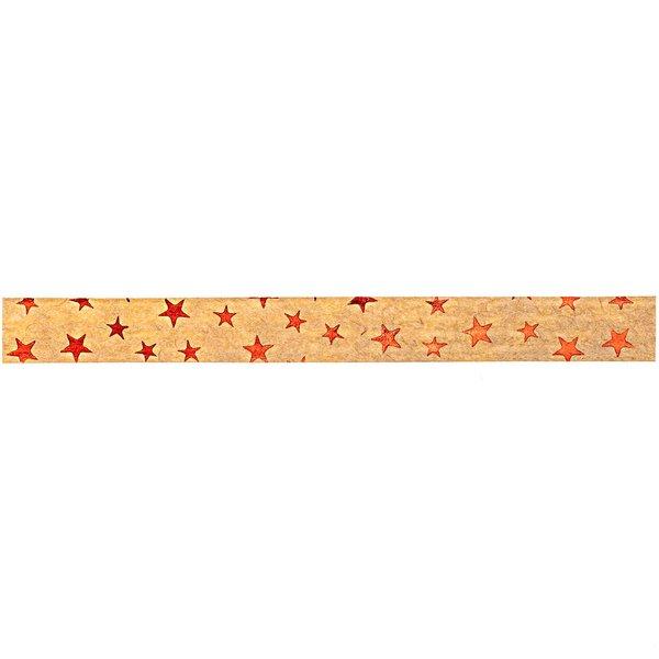 GOLDINA Packpapier-Ringelband hellbraun-rot 10mm 12m Hot Foil