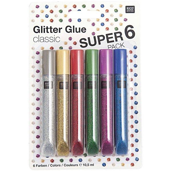 Rico Design Glitter Glue classic 6x10,5ml